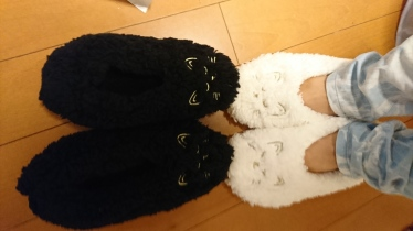 black & white cat slippers
